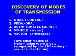 discovery of modes of transmission