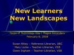 new learners new landscapes