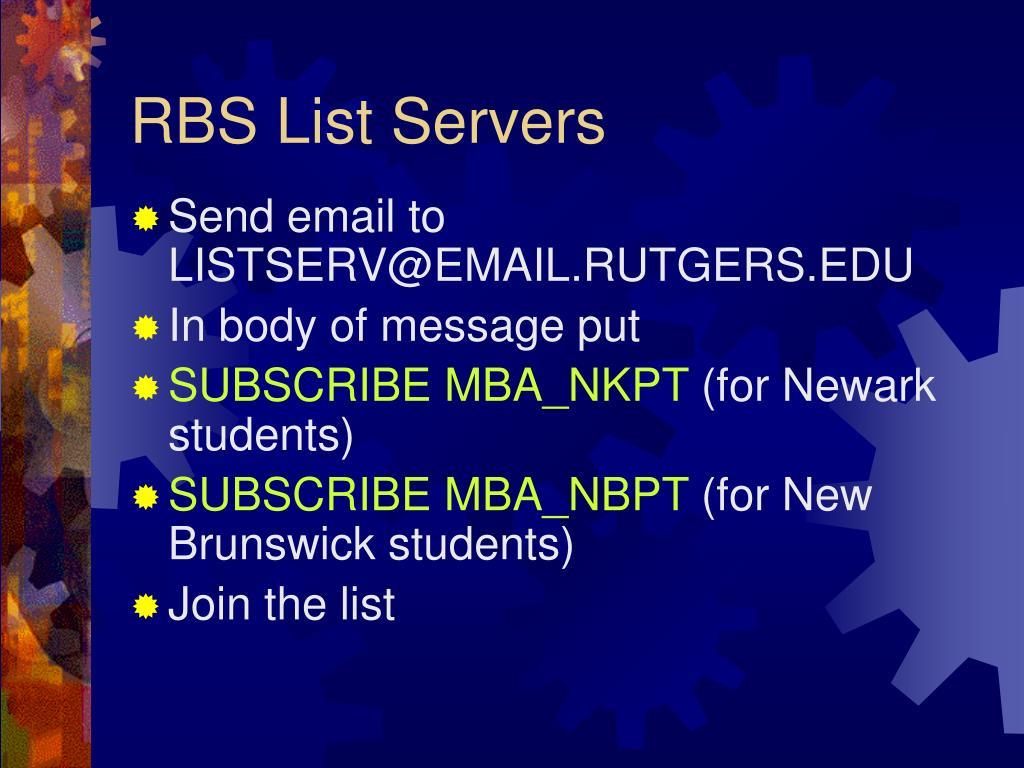 RBS List Servers