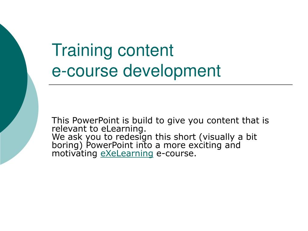 training content e course development l.
