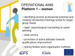 operational aims platform 1 women