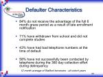 defaulter characteristics