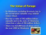 the value of forage