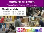 summer classes rising 3rd rising 12 th graders