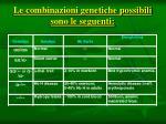 le combinazioni genetiche possibili sono le seguenti