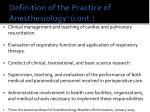 definition of the practice of anesthesiology 1 cont