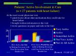 patients active involvement in care n 27 patients with heart failure