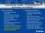 community guide promoting pa summary of findings