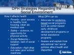 dph strategies regarding the social environment