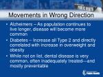 movements in wrong direction