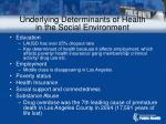 underlying determinants of health in the social environment