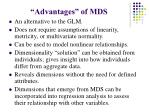 advantages of mds