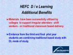 hefc d e learning additional benefits