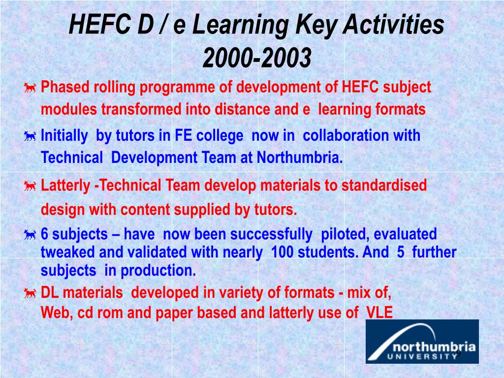 HEFC D / e Learning Key Activities 2000-2003