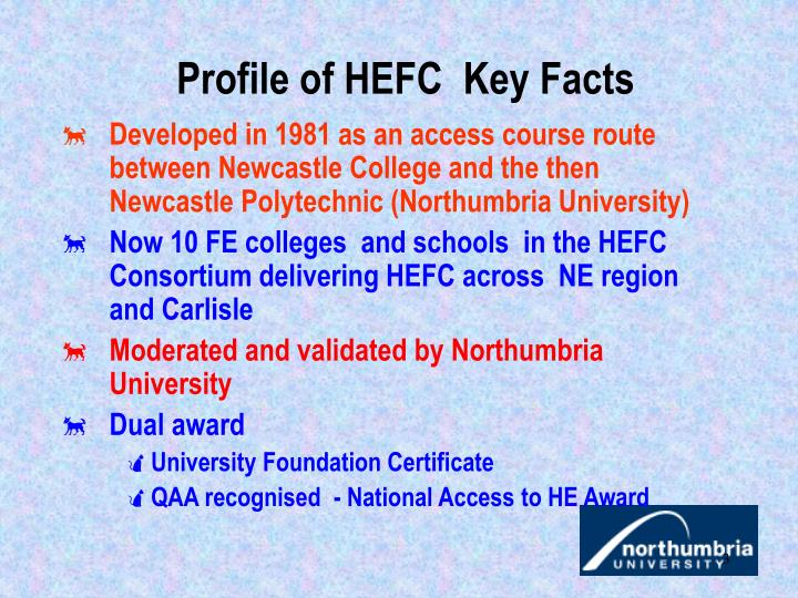 Profile of hefc key facts