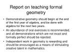 report on teaching formal geometry