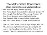 the mathematics conference sub committee on mathematics