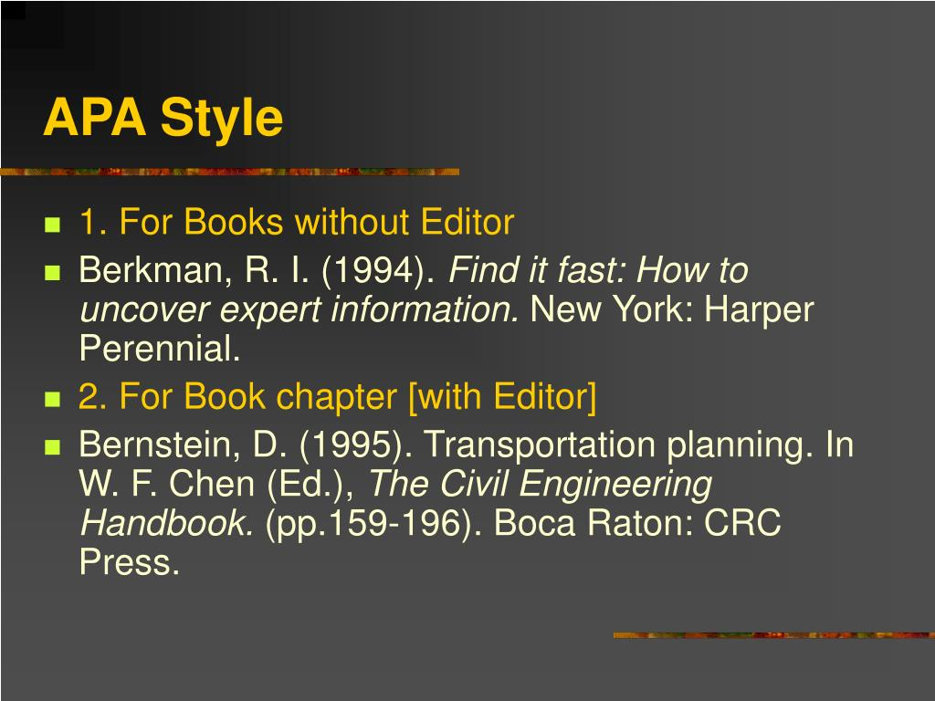 apa style book chapter Apa citation style & formatting: citing print books citing print books in apa style books general book format lastpage number of chapter in book.