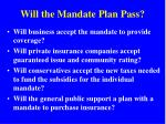 will the mandate plan pass