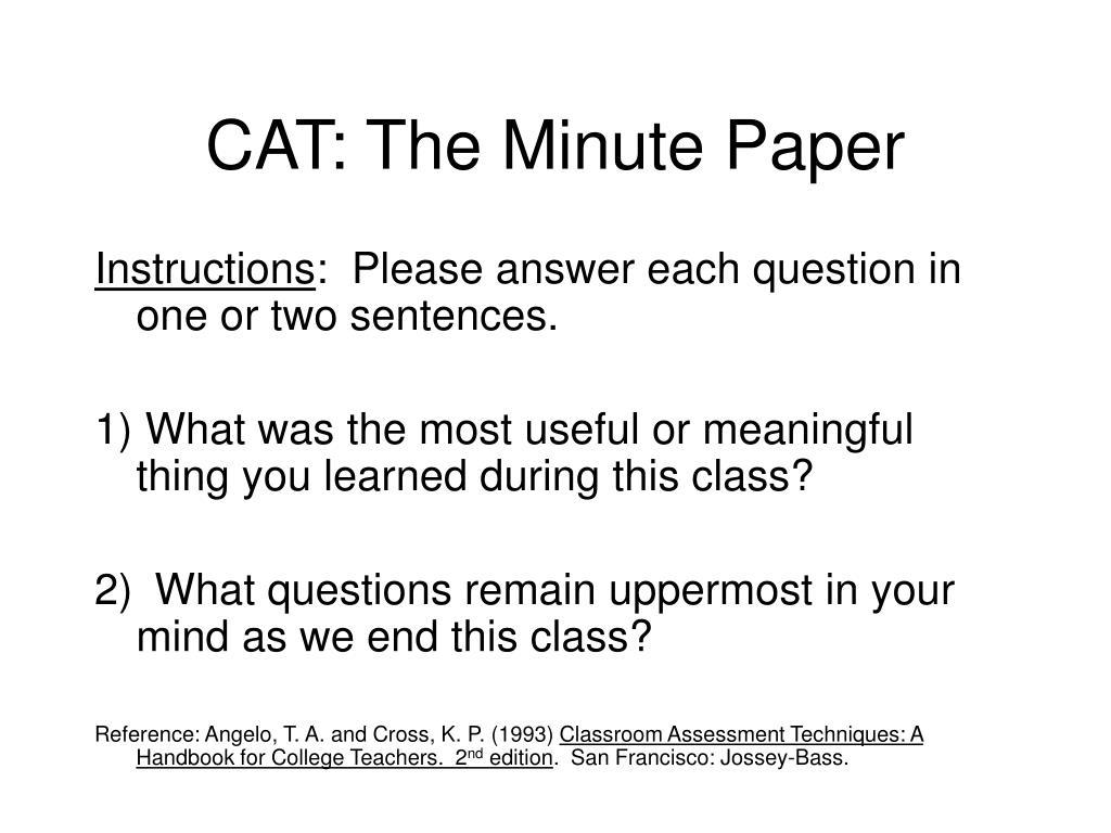 cat the minute paper l.