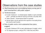 observations from the case studies