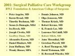 2001 surgical palliative care workgroup rwj foundation american college of surgeons