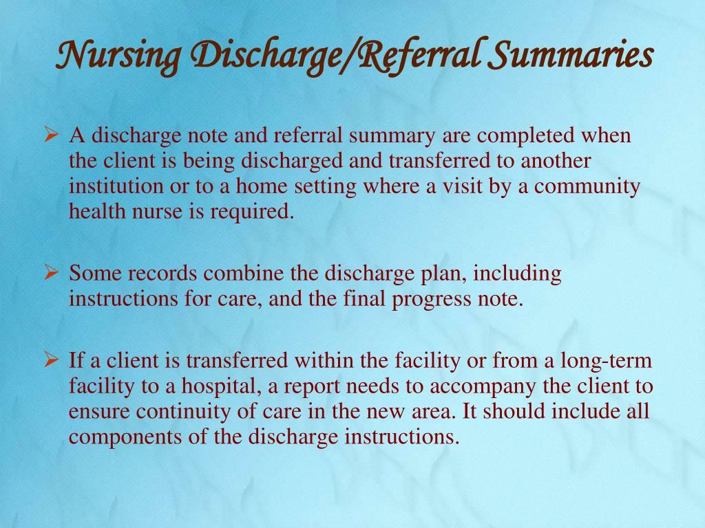 Nursing Discharge/Referral Summaries