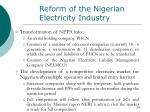 reform of the nigerian electricity industry10