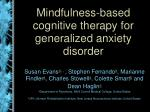 mindfulness based cognitive therapy for generalized anxiety disorder