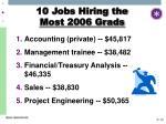 10 jobs hiring the most 2006 grads