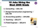 10 jobs hiring the most 2006 grads16