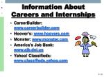 information about careers and internships