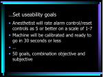 set useability goals