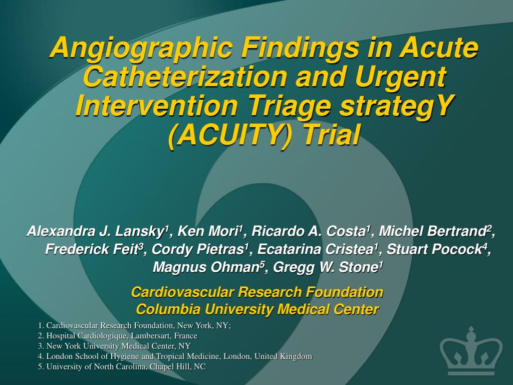 angiographic findings in acute catheterization and urgent intervention triage strategy acuity trial l.