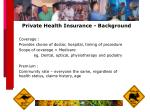 private health insurance background