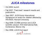 jlica milestones