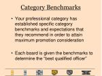 category benchmarks