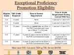 exceptional proficiency promotion eligibility