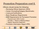 promotion preparation cont d