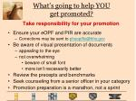 what s going to help you get promoted