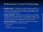 performance counts terminology