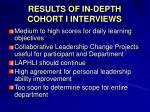 results of in depth cohort i interviews