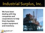 industrial surplus inc10
