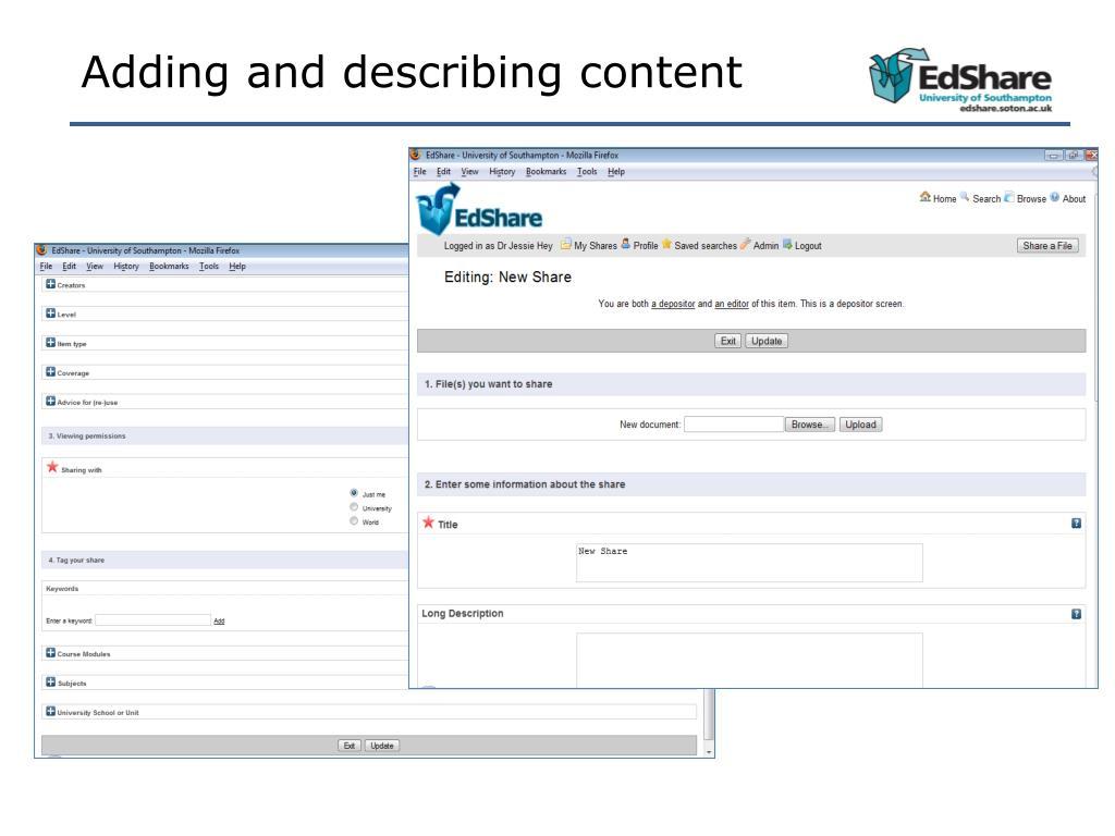 Adding and describing content