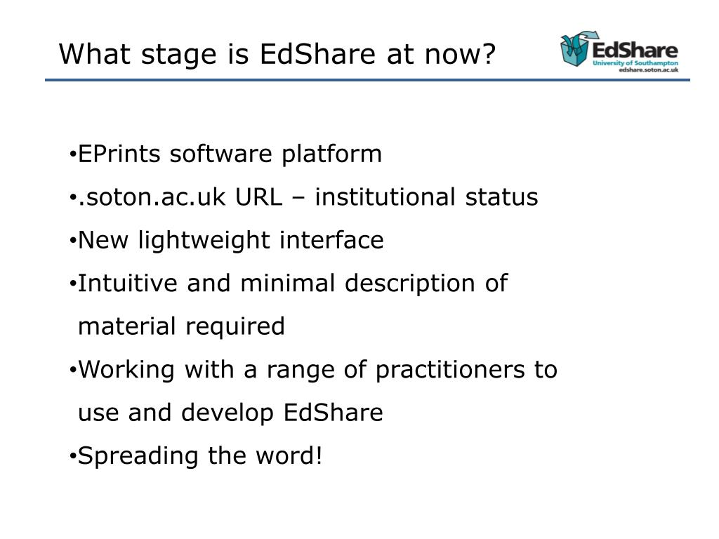 What stage is EdShare at now?