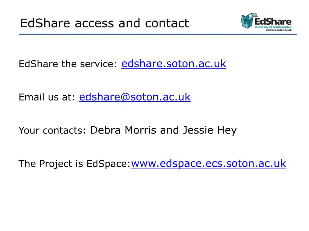 EdShare access and contact