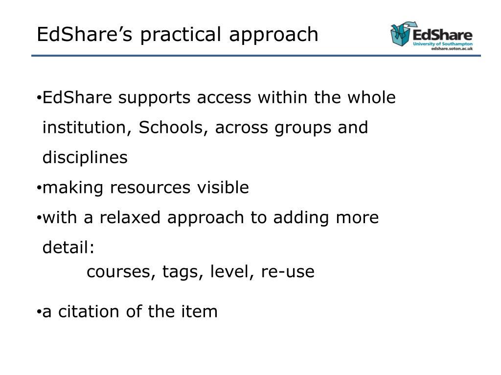 EdShare's practical approach
