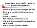 allen v united states 816 f 2d 1417 10th cir 1987 the clears up the cloud