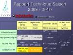 rapport technique saison 2009 201027