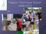 rapport technique saison 2009 201037